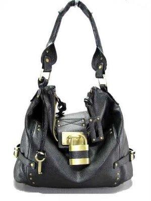 Brown Padlock Bucket Tote Handbag Purse Fashion Bag