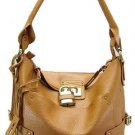 Camel Padlock Bucket Tote Handbag Purse Fashion Bag