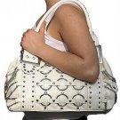 White Multi Chain Ring Tote Handbag Purse Fashion Bag