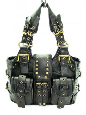 Black Motorcycle Metal Buckle Handbag Tote Purse Bag