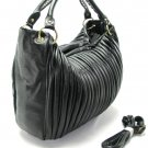 Black Pleated Fold Hobo Tote Handbag Purse Fashion Bag