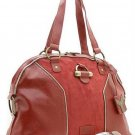Red Suede Dome Muse Bowler Handbag Purse Hobo Bag