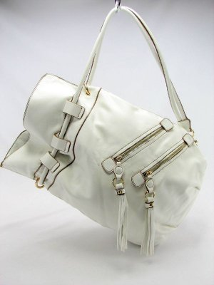 White Melie Bianco Double Zip Handbag Purse Hobo Bag