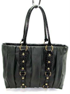 Black Bucket Coffer Pleated Handbag Tote Purse Bag