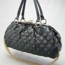 Black Quilted Stitch Chain Stam Handbag Tote Purse Bag