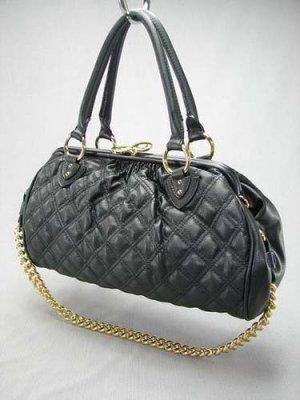 Black Quilted Stitch Chain Stam Handbag Tote Purse Bag