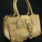 Large Tan Button Hook Tote Handbag Purse Fashion Bag