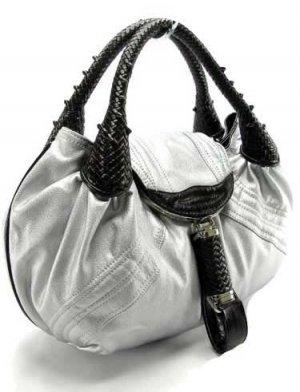 Silver / Brown Spy Tote Handbag Purse Fashion Bag