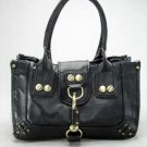 Large Black Button Hook Tote Handbag Purse Fashion Bag