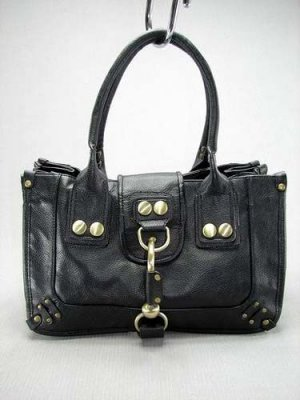 Large Black Button Hook Tote Handbag Purse Fashion Bag