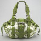 Green Floral Handbag Canvas Satchel Bag By Rina Rich