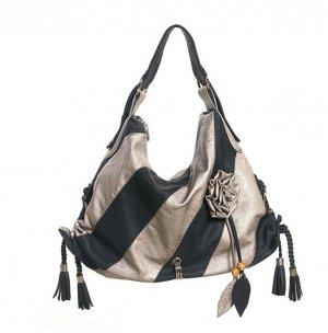 Black Silver Stripe Flower Hobo Tote Handbag Purse Bag