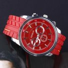 Red Silicone Band Big Round Face new Watch  #418 Free shipping