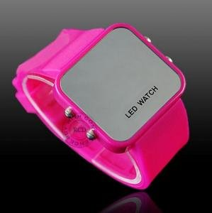 Pink Luxury Mirror Face Sport Style LED new Watch #414