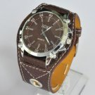 New SOKI Brown colors Analog Quartz Mens Wrist Band Watch #412 Free shipping