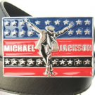 NEW Michael Jackson metal colorful buckle black belt
