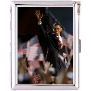 H5S65  Cigarette Case with lighter Barack Obama Picture Free shipping