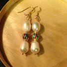 Natural White Akoya Pearls 14K Cloisonne Drop Earrings (Handmade)