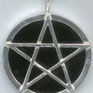 Mirrored Black Pentagram Scrying Pendant