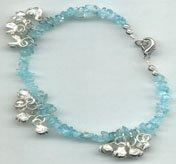 """Anklet: Aquamarine & Bells (9""""):JABAQ"""