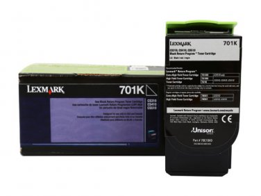 Genuine Lexmark 70C10K0 Black Toner Return Program  Cartridge (701K) (1,000 Yield)