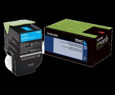 Lexmark 701C Cyan Return Program Toner Cartridge 1K CS310/410/510