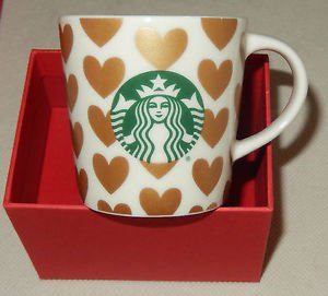 Starbucks 2015 Gold Hearts and Logo Mini Mug Espresso Demi NEW