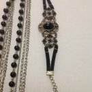 Multi Strand Chain and Black Bead Necklace with Bracelet