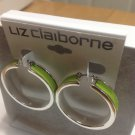 LIZ CLAIBORNE STUDDED LIME LEATHER SILVER TONE HOOP EARRINGS