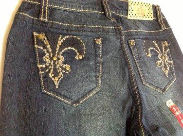 Girl's YMI Fleur De Lis Dark Wash Skinny Jeans Size 12