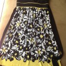 Women's Junior Black White & Yellow Flower Sleeveless Dress Size S