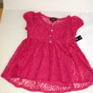 Amywear Girls Lace Overlay Babydoll Top Blouse, NEW M Pink
