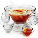 27pc 5qt Glass Punch Bowl Set with 12 Cups +Ladle ART DECO NIB salad,soup, pasta