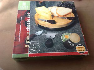 Chefs Basics 5-Piece Two Tone Wooden Cheese Set Round Cutting Board with Drawer