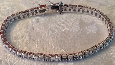1/2 CARAT   WHITE GOLD FINISH Fashion  GENUINE DIAMOND BRACELET  7""