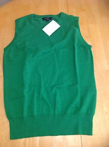 Lands End Womens Size XS (2 - 4) Green Sleeveless Cotton Crewneck Sweater Vest