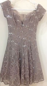 B Darlin Sequined Junior's Lace Dress Taupe/Silver Size 1/2