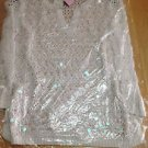 Peck and Peck Women's Knit Long Sleeve Sequined Top Blouse S White