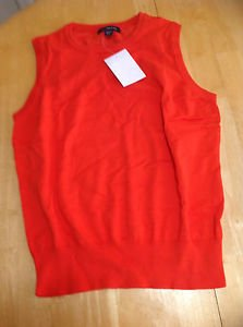 Lands End Womens Size S/P (6-8) Red Sleeveless Cotton Crewneck Sweater Vest