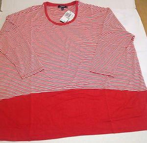 Womens Premise Studio Red & White Striped Knit Top Plus Size 0X