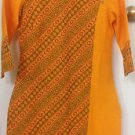 AURELIA Orange Kurta/Tunic Dress w/Vented Hem & 3/4 Sleeve Size XS