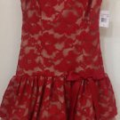 Camille La Vie Red Lace Prom Cocktail Party Empire Waist Vintage Dress Size 3/4