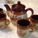 Ceramic Teapot/Coffee and 4 Cups Set 3 Tone Brown Vintage Handcrafted