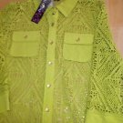 NWT Peck & Peck LACE BUTTON FRONT KNIT TOP Open Weave SHIRT BLOUSE S Lime
