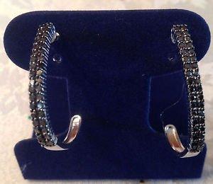 1 Ct. Genuine Black Diamond Double Row Hoop Earrings Sterling Silver