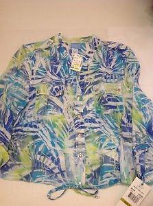 Lara Lane Leaf Print Sheer Jacket Top Blouse Size 14P Petite Blue Green