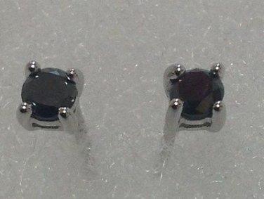 1/4 Ct Genuine Round Black Diamond 925 Sterling Silver Stud Earrings