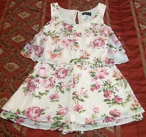 Pink Floral Romper Shorts Sleeveless  Juniors Size 1