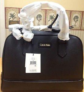 CALVIN KLEIN BLACK Saffiano Classic Convertible LEATHER SATCHEL Tote BAG $228.