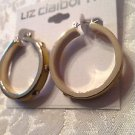 Liz Claiborne Yellow Leather Stud Hoop Earrings Goldtone
